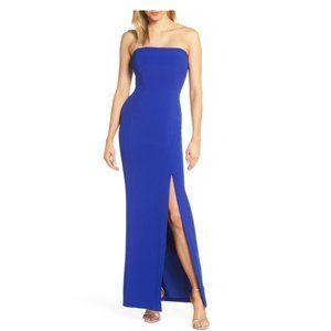 ELIZA J Cobalt Blue Strapless Crepe Evening Dress
